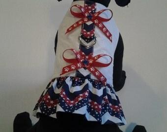 patriotic chevron and eyelet dog harness dress