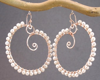 Hammered swirl hoops with Ivory Pearls Cosmopolitan 85