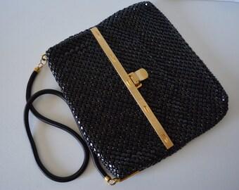 Black mesh handbag, Park Lane evening shoulder bag, vintage Australian