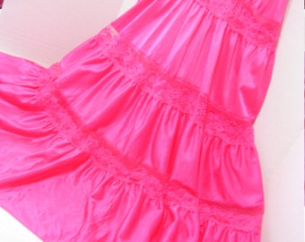 Hot Pink Baby Doll Gown Sleepwear with Tiered and Flirty Ruffles Summer Beach Resort Cruise Wear