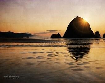 Beach Landscape Photography | Ocean Art | Cannon Beach | Haystack Rock | Large Wall Art | Sunset | Romantic Beach House Decor | Oregon Coast