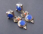 Turquoise Tibetan earrings, Nepal earrings, ethnic jewelry TS-BBR