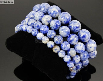 Natural Handmade Blue Spot Gemstone Size 6mm 8mm 10mm 12mm Round Beads Stretchy Bracelet Healing Jewelry Design and Crafts