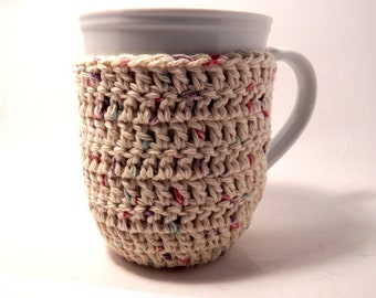 Crochet cup cozy coaster baige-Mug cozy coffee cup cozy Spring Summer and Fall-ecru