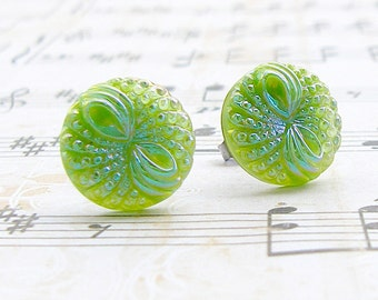 Green Bow - vintage glass button stud earrings