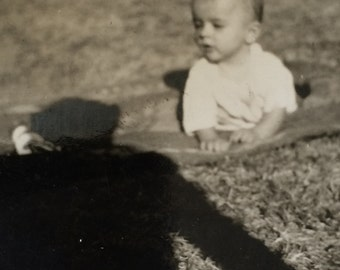 Baby & Scary Looming Ominous Shadow Vintage Photo