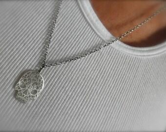Skull  sterling silver chain necklace - skull pendant - large skull sterling pendant - 925 solid sterling silver -