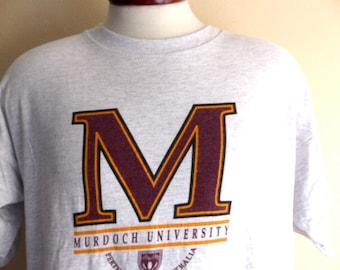 vintage 80's 90's Murdoch University Perth Western Australia heather grey yellow gold maroon logo crest print graphic t-shirt crew neck XL