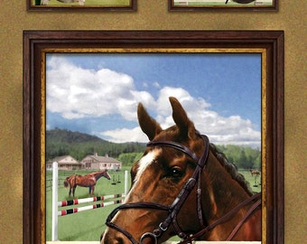 World of Horses Horse Pony Equestrian Cotton Quilting Fabric Panel SPX 25321