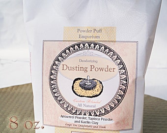 Half Pound (8 oz. net wt ) BULK Refill  Bath Body Dusting Powder (scented or unscented) Talc-Free, NATURAL Deodorizing