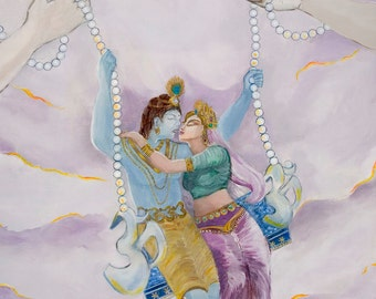 GICLEE ART PRINT 108 Bhakti Kisses, Lord Krishna and Radha