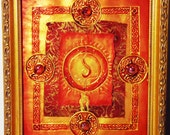 Eternal Flame: The Sacred Fire-- mixed media gold and red painting