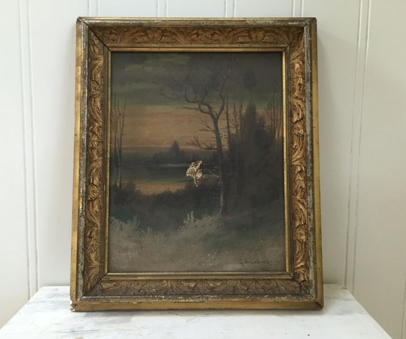 Antique Oil Painting On Canvas Stretcher 1880 Gold Leaf