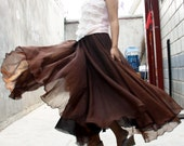 chiffon maxi skirt---------- long skirt pleated skirt golden beige orange skirt