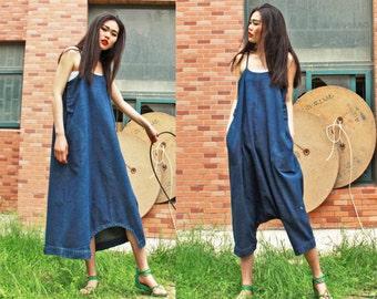 cotton maxi dress pants---a pants a dress blue linen dress