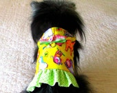 Female Dog Flannel Harness Vest - Yellow with Multicolored Zoo Animal Print, Paw Print Button and Bow Customize to Fit Chihuahua Size