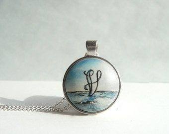 Hand Painted Letter V Necklace, OOAK Necklace, Personalized Pendant, Tiny Ocean Painting Jewelry, Initial V Necklace, Sea Painting, Artdora