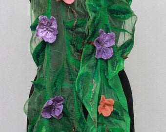 Nuno Felted scarflette   Handmade Green Flower Scarf Fairy Romantic Scarf