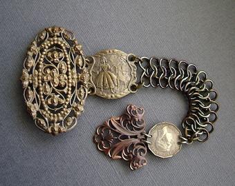 The Dancers, Assemblage bracelet, vintage bracelet links, vintage nurse belt, vintage coin, vintage buckle, filigree, rocker, AnvilArtifacts