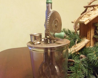 A & J  Hand Beater Mixer with Glass Mixing Jar, Dated Oct. 9, 1923