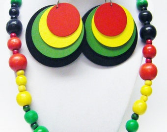 Round Multi Color/Size Wood Bead Necklace/Earrings Set