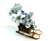 Wicker sleigh table decoration/ Christmas centerpiece/ Silver and white table centerpiece/ Holiday sleigh decoration/ Home decor (C427)