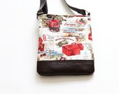 Crossbody Bag, Voyage Travel Crossbody Bag, Purse,  Vegan Leather Purse