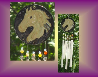 Palomino Horse Windchime Fused Glass Wind Chime Ceramic Art Window Suncatcher Garden Decor Equestrian Art Hanging Pottery