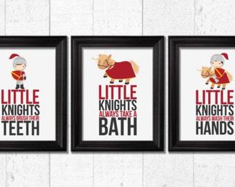 Little knights bathroom rules, bathroom rules kids, home decor, medieval kids art, knights nursery wall art, children bathroom decor, F-3027