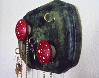 Whimsical Bohemian Jewelry Display - Woodland Necklace Holder - Mossy Mushroom Woodland Decor - Wood Wall Organizer - Woodsy Necklace Hanger