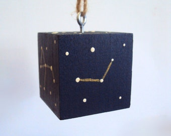 Constellation Cube Ornament - Hanging Stars & Sky Cube - Art Block Christmas Ornament - Minimalist Decoration - Star Map Art - Science Gift