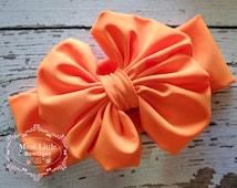 5 DOLLAR SALE -Neon Orange Head wrap- Girl Turban-Baby Boho headband-  Neon Orange Bow - Orange Headband- Neon Orange Headwrap