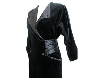 1980 french TUXEDO DRESS  black velvet ans satin  medium