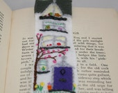 Embroidered and Felted Bookmark - Terraced House in Spring