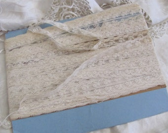 "Antique French Valenciennes Lace Off White Delicate Sewing Trim - .5"" Inches Wide - By The Yard #SHS07"
