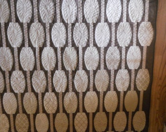 Modern Brown and Tan Urban Abacus Quilt, off white, tan, curves, modern, 51x67 inches, neutral, handmade, Mayerial Things