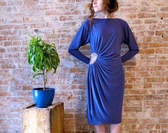 80s Vintage Dress - Purple - Sequin Detail- Beads - Stretch Fabric