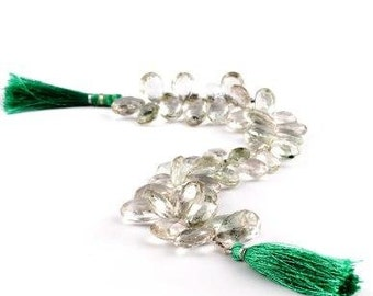Green amethyst, Prasiolite, matched pair, top drilled, faceted pear briolettes