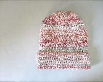 Crochet Dark Pink, Pale Pink, Cream, Peach, Off White, Winter White, Ombre, Striped, Slouchy Hat, Beanie Hat