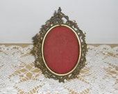 Vintage Brass Frame - Victorian Style Brass Frame, Small Oval, Portrait Frame, Wood Easel Back, Desk Frame, Office Decor