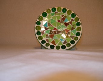 Round fimo glass pillar plate candle holder (Dark Green)