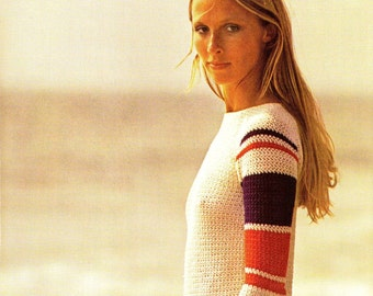 Crochet Sweater Pattern - Vintage Hippie Boho / Retro 70's Sweater PDF Pattern - INSTANT DOWNLOAD