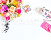 Styled Desk Top Stock Photography Bright Fun Colorful Flowers Floral Make Up Office Supplies Photo for Blogger Website Shop Banner