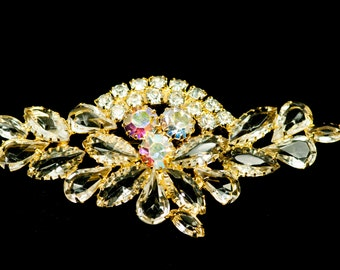 D&E Rhinestone Brooch  Large Vintage Juliana  Clear AB
