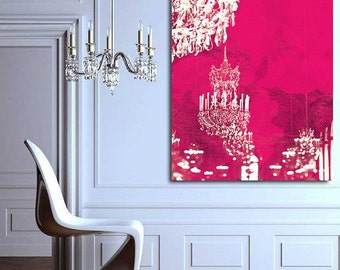 Hot Pink Chandelier of Paris Canvas Wall Art - Paris