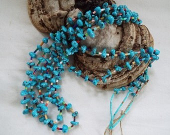 "29"" southwest old pawn turquoise nugget heishi necklace multi strand  3 strands Navajo with  coral lapis onyx turquoise heishi"