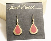 Vintage Gold Drop Earrings By Laurel Burch, Red Gold Earrings, Gifts Under 35
