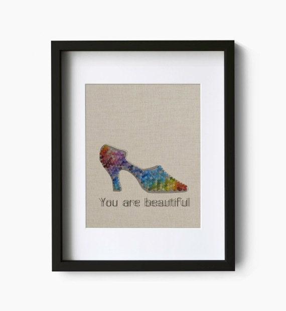You are beautiful 3 - Shoe Art Print