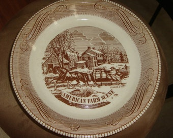Royal China by Jeannette Currier & Ives American Farm Scene Pie Serving Plate Dish Bowl