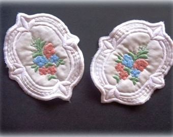 Embroidered Shabby Appliques, x 2, Embellishment For Accessories, Home Decor, Children Apparel, Mixed Media